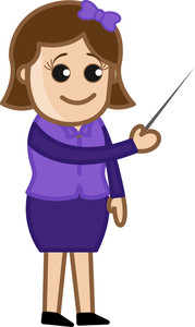 Girl Pointing A Stick - Cartoon Office Vector Illustration