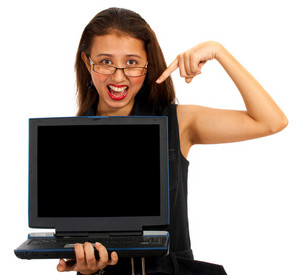 Girl Pointing To Blank Computer Screen Message