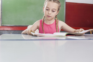 Girl reading at school