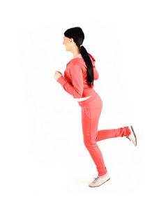 Girl running, isolated on white