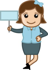 Girl Showing Board - Cartoon Bussiness Vector Illustrations