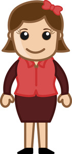 Girl Standing - Business Cartoon Character Vector