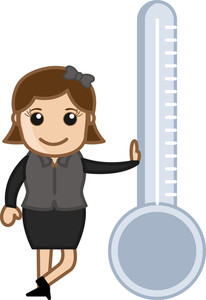 Girl Standing With Thermometer