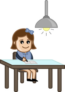 Girl Studying At Late Night - Cartoon Bussiness Vector Illustrations
