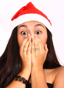 Girl Surprised And Excited At Christmas