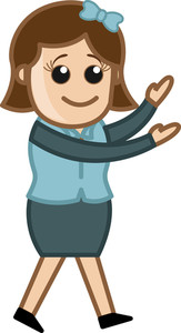 Girl Talking With Hand Gestures - Business Cartoon Character Vector