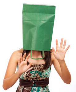 Girl With Bag On Head Hiding