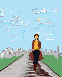 Girl With City Vector Illustration