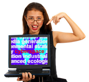 Girl With Cyberspace Screen Showing Internet