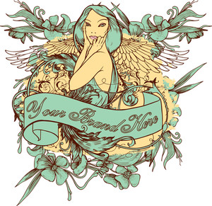 Girl With Floral Vector T-shirt Design