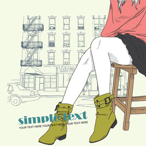 Girl With Green Shoes On A Street-background. Vector Illustration.