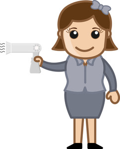 Girl With Hair Dryer - Office Character - Vector Illustration