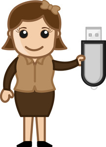 Girl With Pen Drive - Vector Illustration