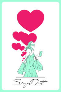 Girl With Shopping Bags And Hearts. Abstract Vector Illustration.