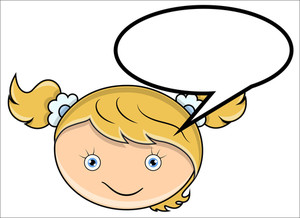 Girl With Speech Cloud - Vector Cartoon Illustration