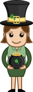 Girl With St. Patrick's Costume - Cartoon Business Characters
