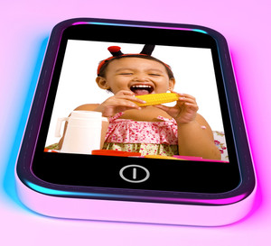 Girl With Toys Picture On Mobile Phone