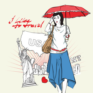 Girl With Umbrella In Sketch Style On A Usa-background.