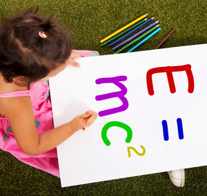 Girl Writing Formula Shows Kids Learning