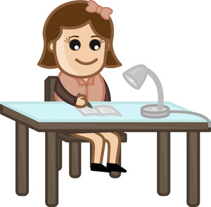 Girl Writing Under Table Lamp - Cartoon Office Vector Illustration