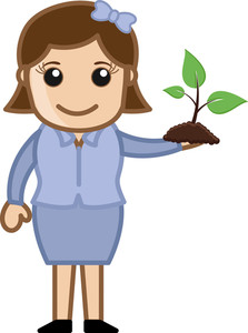 Girld Holding A Small Plant - Vector