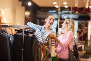 Girls shopping in store
