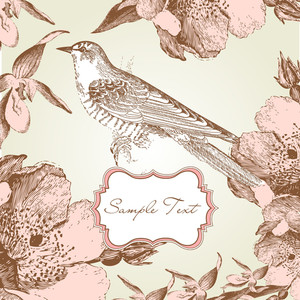 Glamorous Card With A Bird