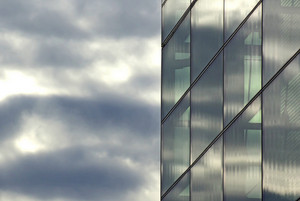 Glass Building With Sky Clouds 280