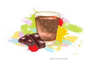 Glass Of Chocolate Milk Vector  Illustration