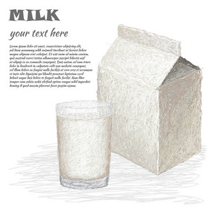 Glass Of Milk And Milk Box