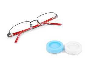 Glasses And Contact Lenses Case On White