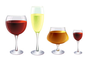 Glasses And Drinks. Vector. No Blends Or Gradient Meshes Used.