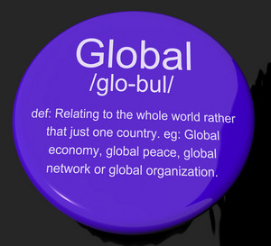 Global Definition Button Showing Worldwide International Or Continental