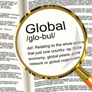 Global Definition Magnifier Showing Worldwide International Or Continental