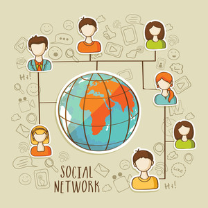 Global social network concept with illustration of people connecting by social media.