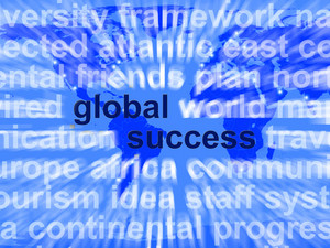 Global Success Words Showing Globalization And Business Growth Worldwide
