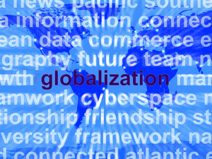 Globalization Word On Map Showing International Business