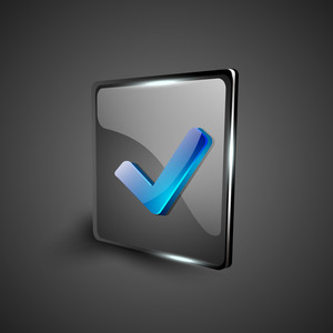 Glossy 3d Web 2.0 Check Mark Validation Symbol Icon Set.