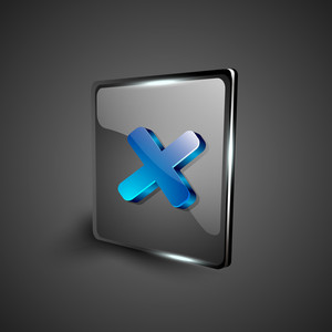 Glossy 3d Web 2.0 Cross Mark Validation Symbol Icon Set.