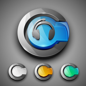 Glossy 3d Web 2.0 Headphone Symbol Icon Set.