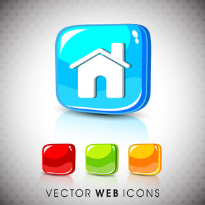 Glossy 3d Web 2.0 Home Or Homepage Symbol Icon Set.