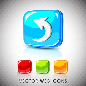 Glossy 3d Web 2.0 Left Arrow Symbol Icon Set.