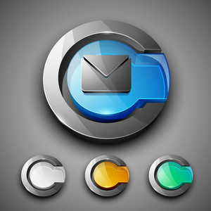 Glossy 3d Web 2.0 Message Symbol Icon Set.