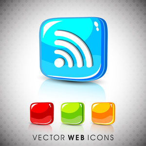 Glossy 3d Web 2.0 Rss Feed Symbol Icon Set.