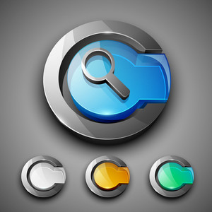 Glossy 3d Web 2.0 Search Symbol Icon Set