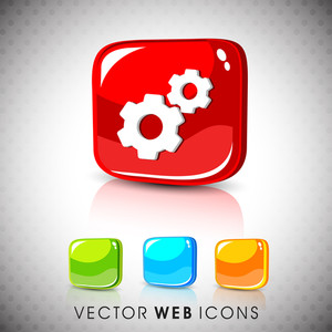 Glossy 3d Web 2.0 Settings Symbol Icon Set.