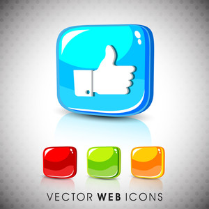 Glossy 3d Web 2.0 Thumb Up Like Button Set.