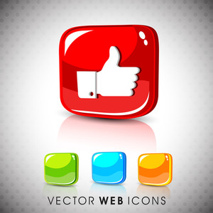Glossy 3d Web 2.0 Thumb Up Like Symbol Icon Set.