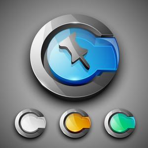 Glossy 3d Web 2.0 Thumbtack Symbol Icon Set