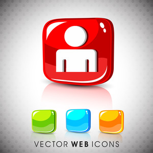 Glossy 3d Web 2.0 Web User Symbol Icon Set.